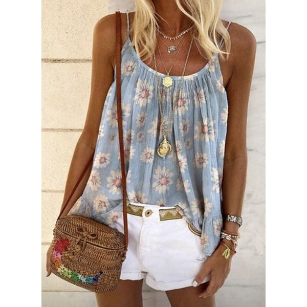 Floral Casual Camisole Neckline Sleeveless Blouses (1645578119)