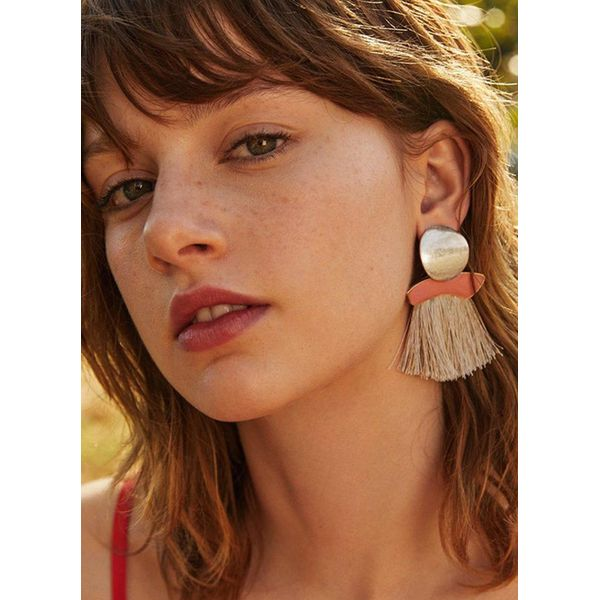 Tassel No Stone Dangle Earrings (1855400025, Off-white;pink;red