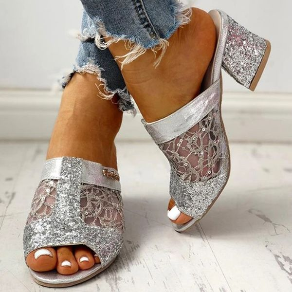 Women's Sequin Stitching Lace Hollow-out Peep Toe Chunky Heel Sandals (1625574213)