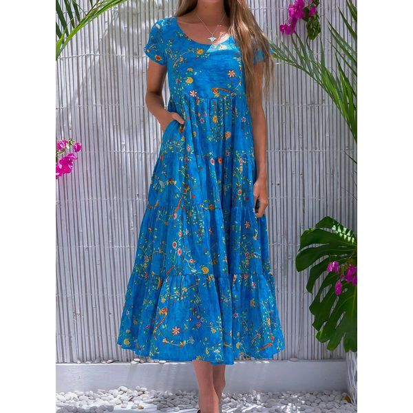 Casual Floral Tunic Round Neckline A-line Dress (1955599469)