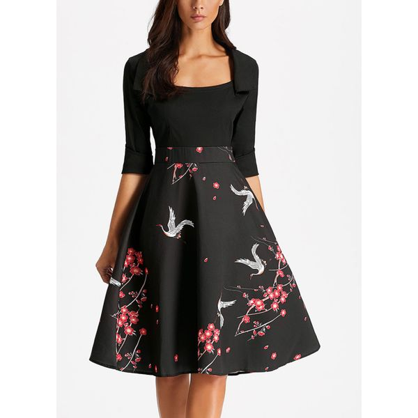 Floral Half Sleeve A-line Dress (01955380185) 10