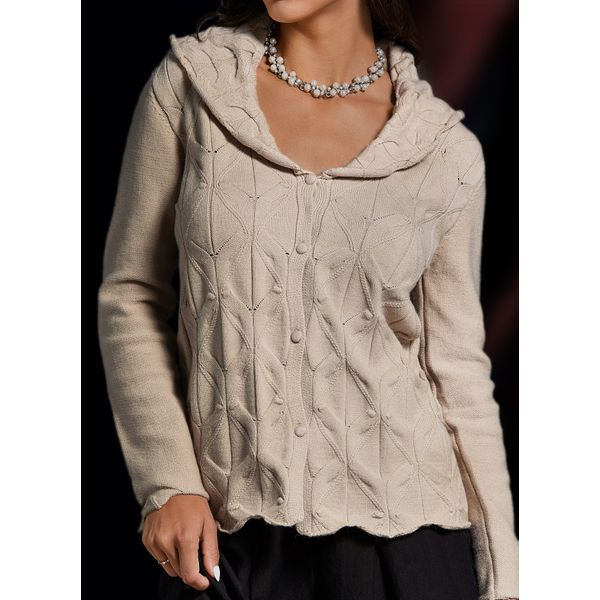 V-Neckline Solid Casual Loose Regular Hollow Out Buttons Sweaters (1675437301)
