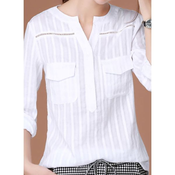 Solid Casual V-Neckline 3/4 Sleeves Blouses (1645423962, White