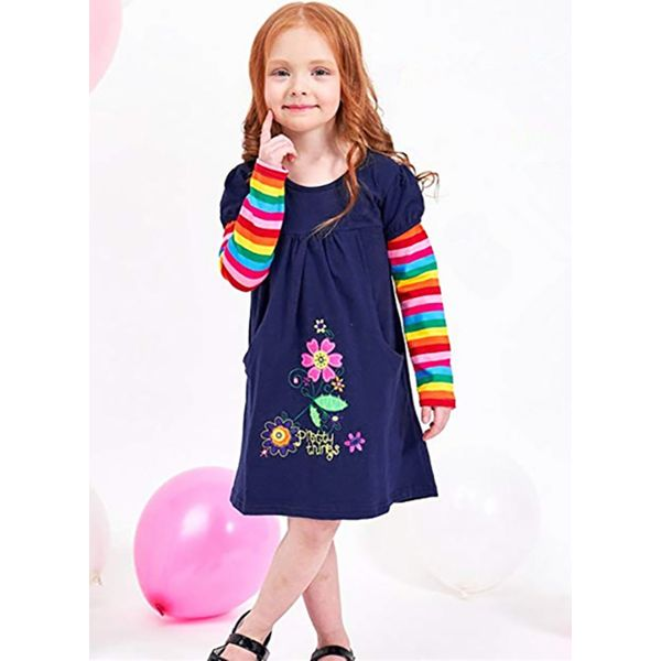 Girls' Floral Daily Long Sleeve Dresses (30135314409) 10