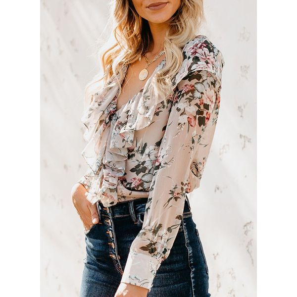 Floral Sexy V-Neckline Long Sleeve Blouses (1645470457)