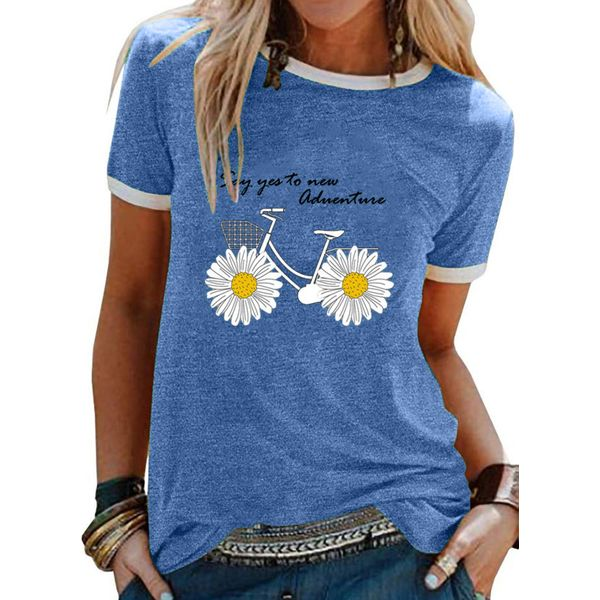 Round Neck Short Sleeve Casual T-shirts (1685581057)