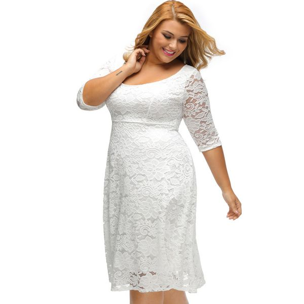 Plus Size Solid Lace 3/4 Sleeves Midi X-line Dress (1955380207) 6