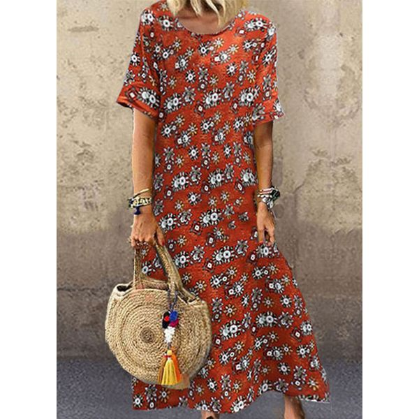 Casual Floral Tunic Round Neckline Shift Dress (1955592689)