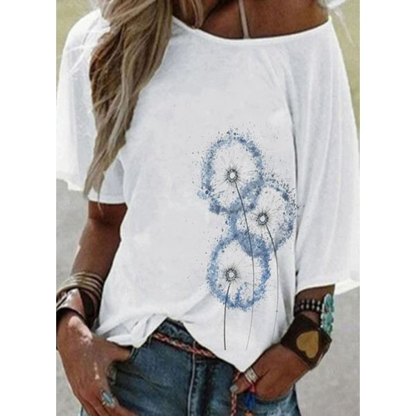 Floral Round Neck Short Sleeve Casual T-shirts (1685594303)