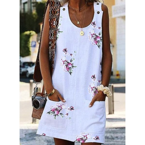 Casual Floral Tunic Round Neckline Shift Dress (1955569792)