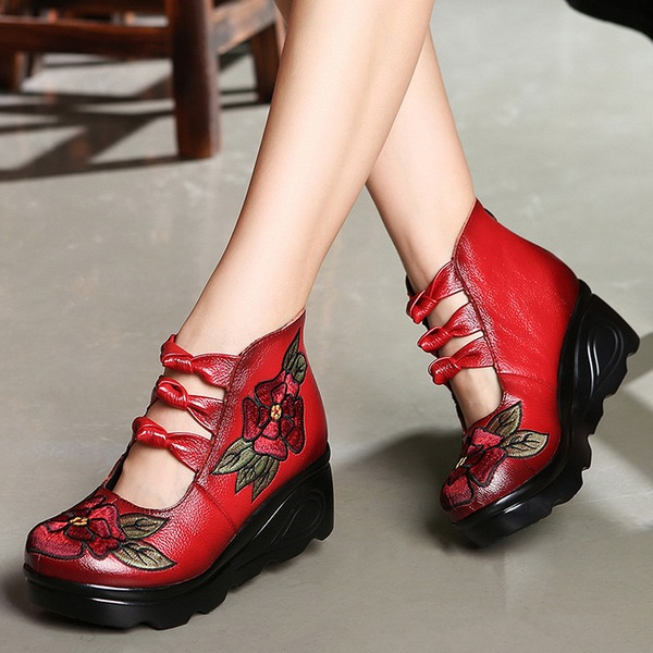 Embroidery Wedge Heel Shoes (1625314695) 5
