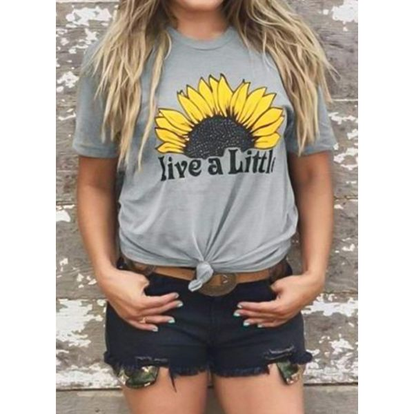 Floral Round Neck Short Sleeve Cute T-shirts (1685380093) 2