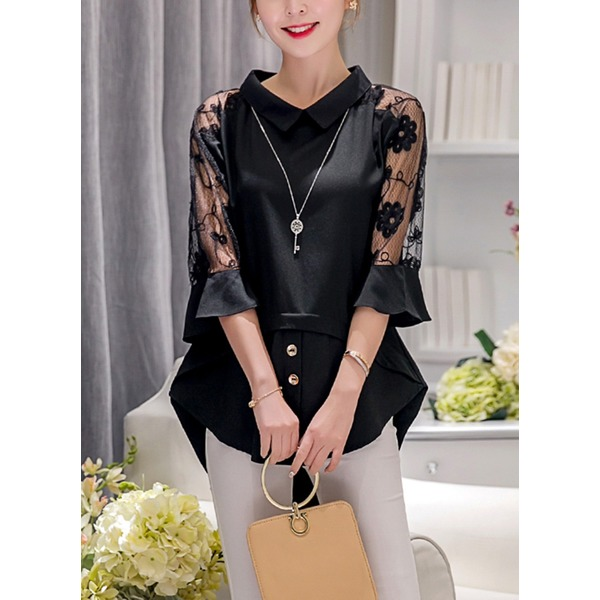 Solid Casual Others 3/4 Sleeves Blouses (1645138274) 5