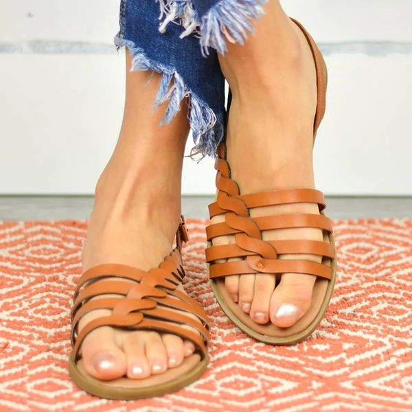 Women's Hollow-out Round Toe Flat Heel Sandals (1625591010)
