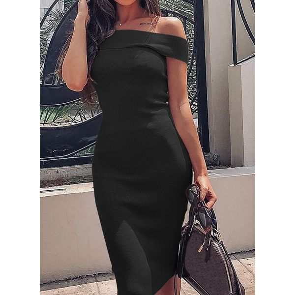 Sexy Solid Pencil Off the Shoulder Sheath Dress (1955567316)