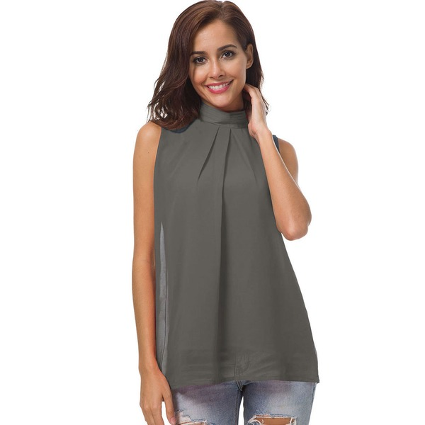 Solid High Neckline Sleeveless Casual T-shirts (1685290718) 1