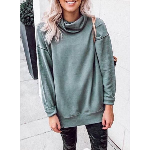 Solid Casual High Neckline Sweatshirts (1635378869) 9