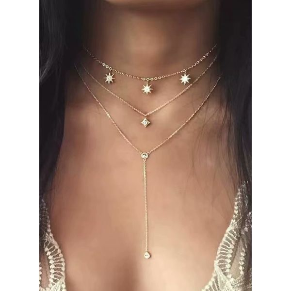 Casual Star Crystal Pendant Necklaces (1845399797)