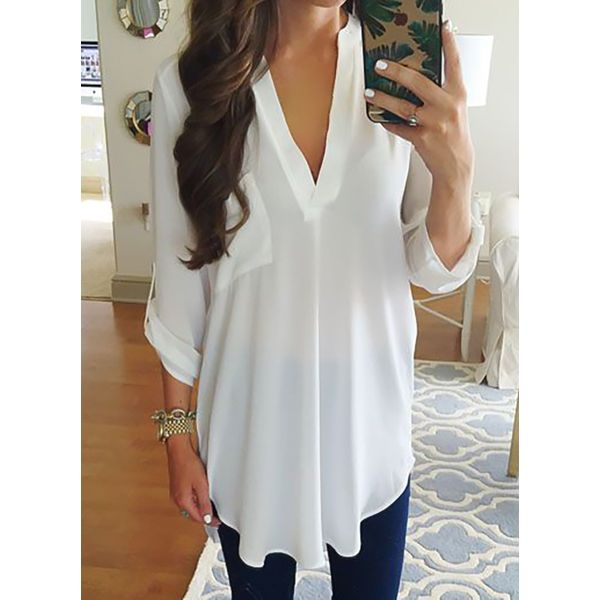 Plus Size Solid Casual V-Neckline 3/4 Sleeves Blouses (1645407178, Black;blue;burgundy;gray;pink;royal blue;white;military green