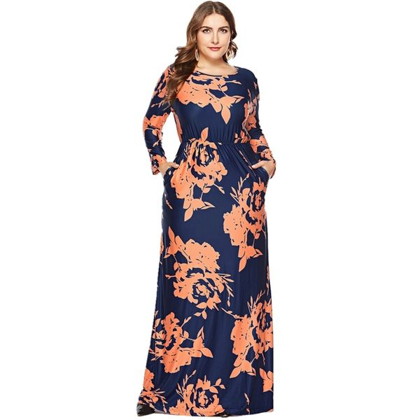 Plus Size Floral Pockets Long Sleeve Maxi X-line Dress (1955380234) 9