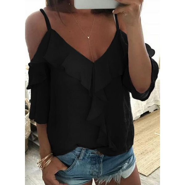 Solid Casual Camisole Neckline Half Sleeve Blouses (1645564528)
