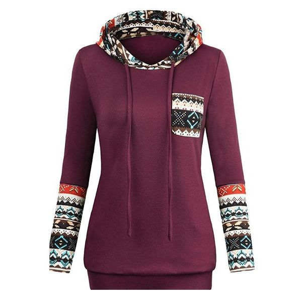 Geometric Trendy Hooded Pockets Sweatshirts (1635373022) 9