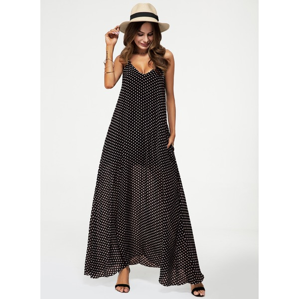 Polka Dot Pockets Sleeveless Maxi A-line Dress (1955154556) 1
