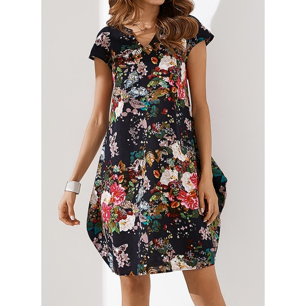 Floral Appliques Short Sleeve Above Knee O Dress (1955149296) 1