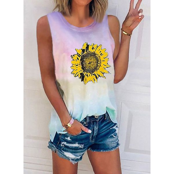 Floral Casual Round Neckline Sleeveless Blouses (1645591185)