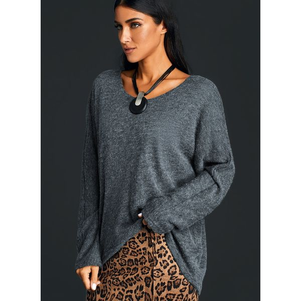 V-Neckline Solid Loose Regular Sweaters (01675379653)