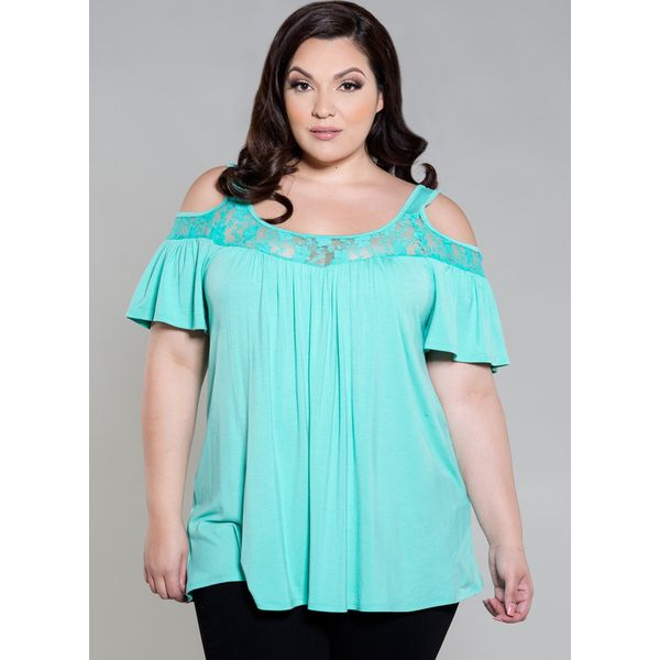 Plus Size Solid Sexy Round Neckline Short Sleeve Blouses (1645377496) 5