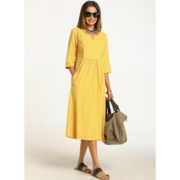 Solid 3/4 Sleeves Midi X-line Dress (01955232230) 6