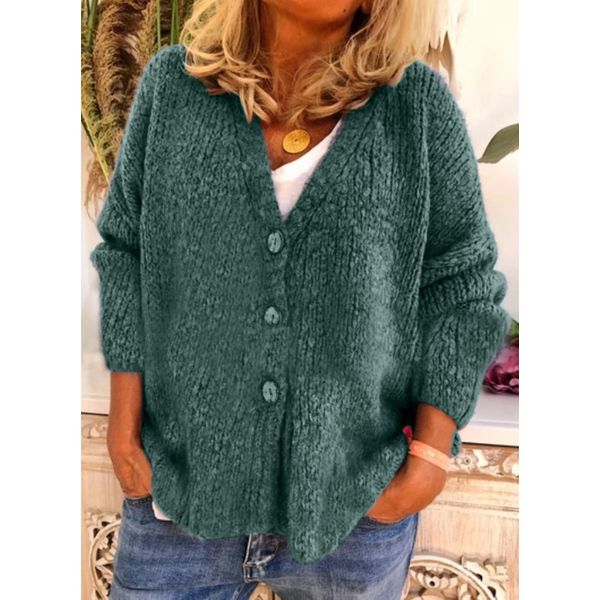 Long Sleeve V-neck Buttons Sweaters Coats (1715577808)