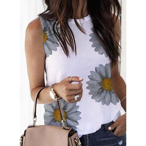 Floral Round Neck Sleeveless Casual T-shirts (1685591702)