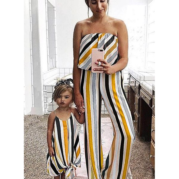 Mommy and Me Stripe Casual Sleeveless Family Outfits (30245591826)