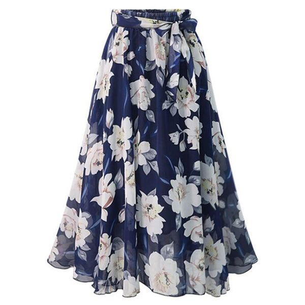 Floral Mid-Calf Casual Sashes Skirts (1725548697)