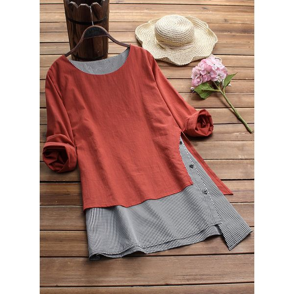 Color Block Casual Round Neckline Long Sleeve Blouses (1645382454) 6