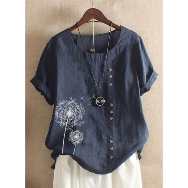 Floral Casual Round Neckline Short Sleeve Blouses (1645436844)