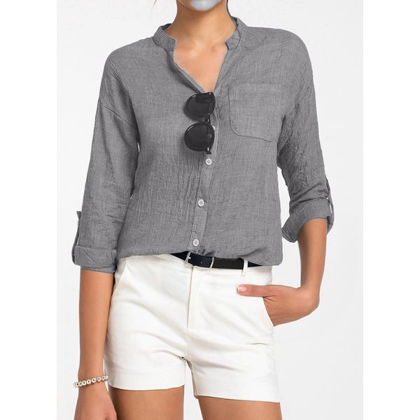 Solid Casual V-Neckline Long Sleeve Blouses (01645268564)