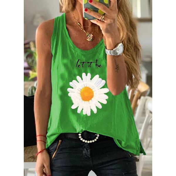 Floral Round Neck Sleeveless Casual T-shirts (1685583203)