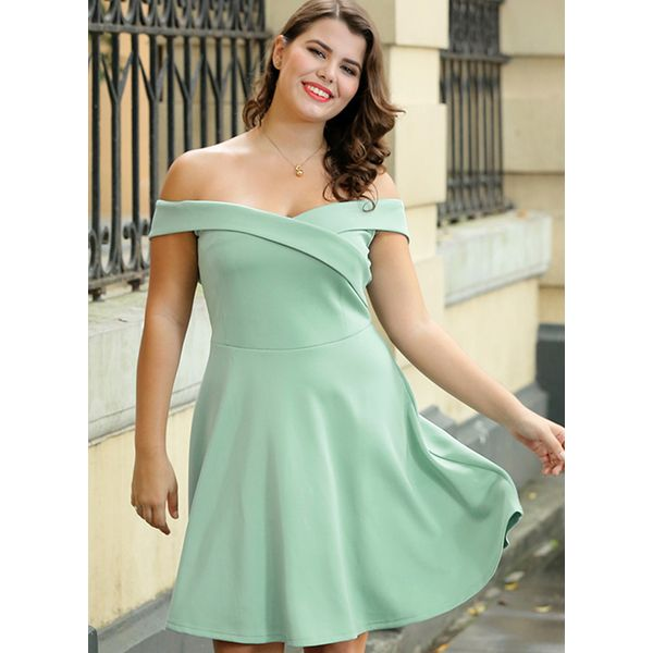 Plus Size Solid Short Sleeve Knee-Length X-line Dress (1955382918) 6