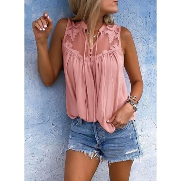 Solid Casual Collar Sleeveless Blouses (1645378098) 6