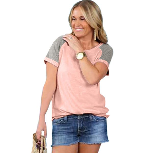 Color Block Round Neck Short Sleeve Casual T-shirts (1685381656)