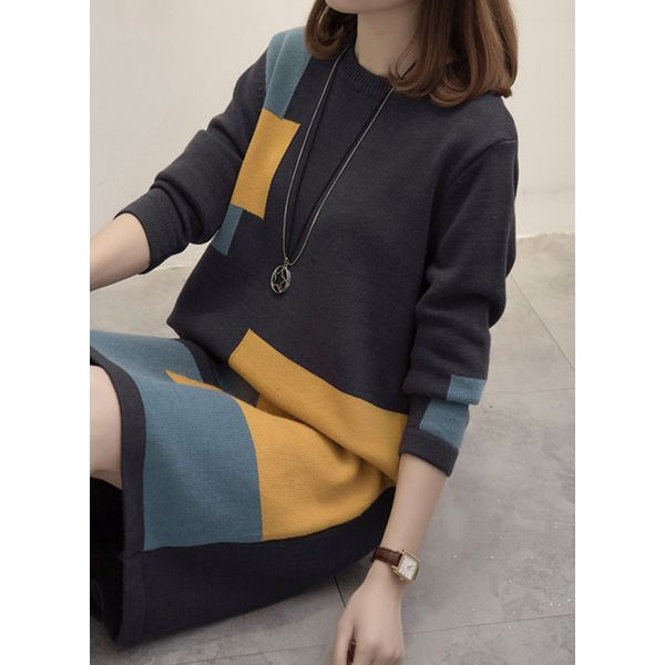 Color Block Sweater Long Sleeve Knee-Length Shift Dress (1955353061) 6