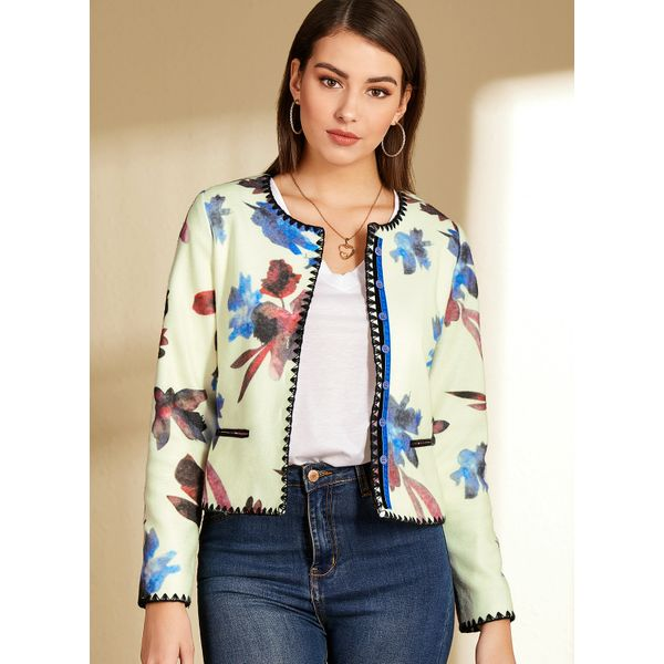 V-Neckline Floral Casual Short Buttons Sweaters (1675465683)