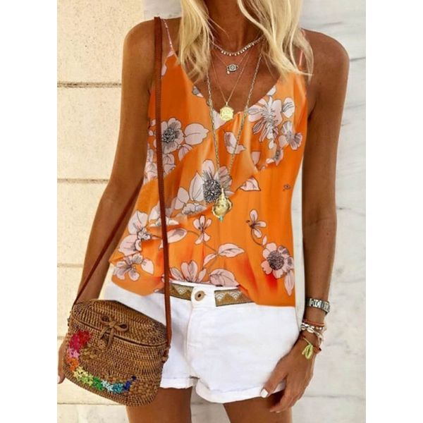 Floral Casual Camisole Neckline Sleeveless Blouses (1645594085)