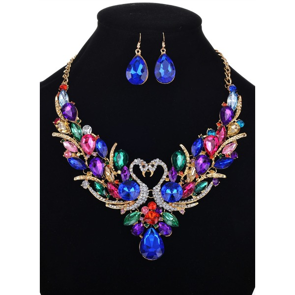 Animal Water Drop Round Crystal Necklace Earring Jewelry Sets (1935301286) 6