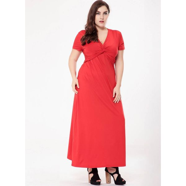 Plus Size Solid Short Sleeve Maxi X-line Dress (1955380014) 3