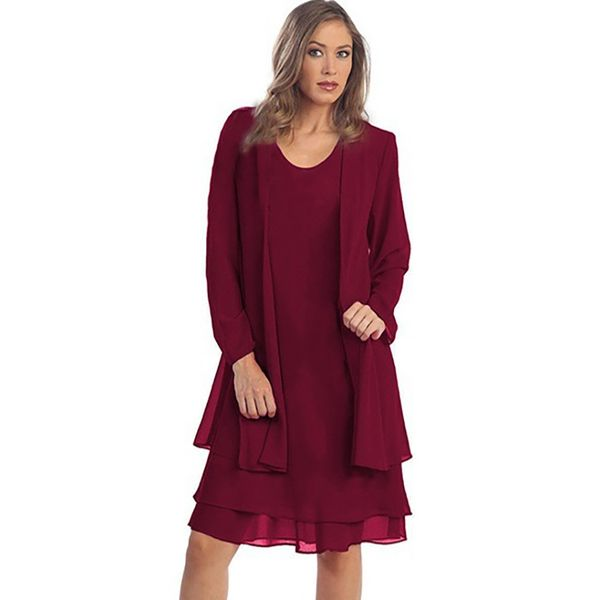 Plus Size Solid Long Sleeve Knee-Length Shift Dress (1955378436) 6