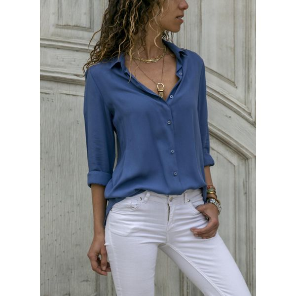 Solid Casual V-Neckline 3/4 Sleeves Blouses (1645378982) 3